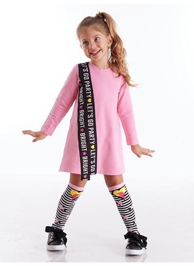 Mushi Lets Go Kız Elbise + Dizaltı Çorap Pembe